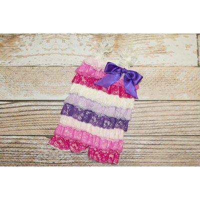 Stripe Lace Romper (White,Pinks&Purples)