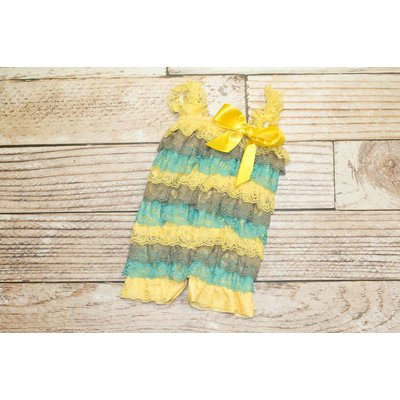 Stripe Lace Romper (Yellow/Grey/Teal)