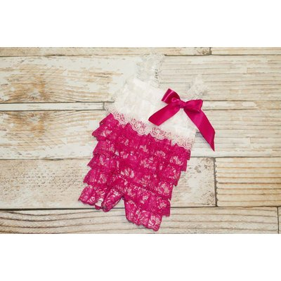 Lace Romper (Hot Pink & White)
