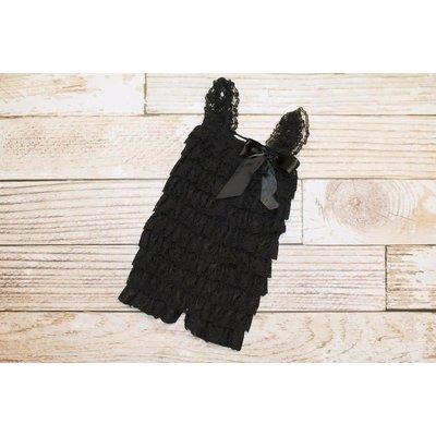 Lincoln&Lexi Solid Lace Romper (Black)