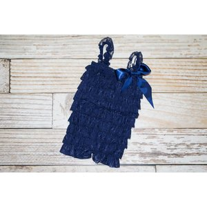 Lincoln&Lexi Solid Lace Romper (Navy)