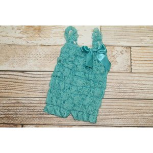 Solid Lace Romper (Teal)