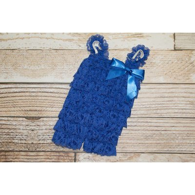 Lincoln&Lexi Solid Lace Romper (Royal)