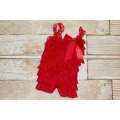 Solid Lace Romper (Red)