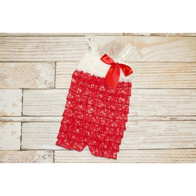 Lace Romper (Red & Ivory)
