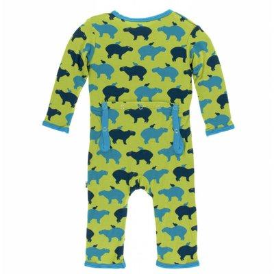Kickee Pants Print Coverall with Zipper (Meadow Capybara)