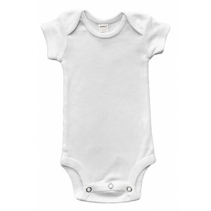 Monag Baby Rib Short Sleeve Bodysuit (White)