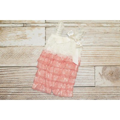 Lincoln&Lexi Lace Romper (Coral & Ivory)