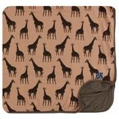 Kickee Pants Print Toddler Blanket (Suede Giraffes - One Size)