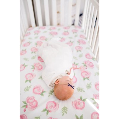 Copper Pearl cotton fitted crib sheet - grace