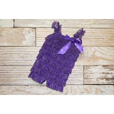 Solid Lace Romper (Purple)