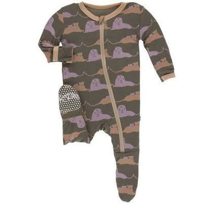 Kickee Pants Print Footie with Zipper (Lions)