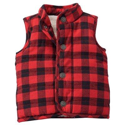 Mud Pie Red & Black Buffalo Check Vest