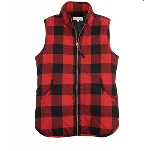 Mud Pie Red Buffalo Check Brodie Vest