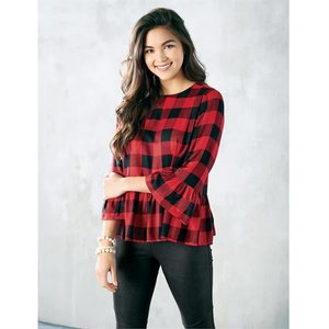 Mud Pie Red Buffalo Check Flora Flounce Top