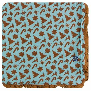 Kickee Pants Holiday Ruffle Toddler Blanket (Christmas Cookies - One Size)