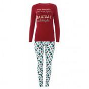 Kickee Pants Women's Print Long Sleeve Fitted Pajama Set (Natural Vintage Ornaments)