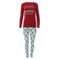 Kickee Pants Women's Print Long Sleeve Fitted Pajama Set (Natural Vintage Ornaments)