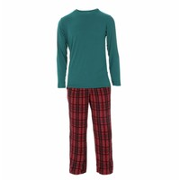 Kickee Pants Men's Holiday Long Sleeve Pajama Set (Christmas Plaid)