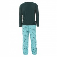 Kickee Pants Men's Holiday Long Sleeve Pajama Set (Glacier Holiday Lights)