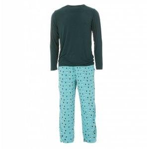 Kickee Pants Men's Holiday Long Sleeve Pajama Set (Glacier Holiday Lights)