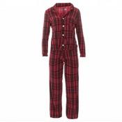 Kickee Pants Women's Print Long Sleeve Collared Pajama Set (Christmas Plaid)