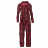 Kickee Pants Women's Print Long Sleeve Collared Pajama Set (Christmas Plaid)
