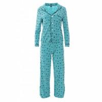 Kickee Pants Women's Print Long Sleeve Collared Pajama Set (Glacier Holiday Lights)