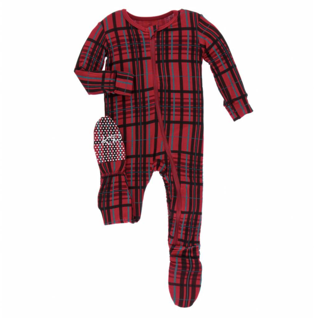 5085dbfee3d5 Kickee Pants Holiday Footie with Zipper (Christmas Plaid) - Lincoln Lexi