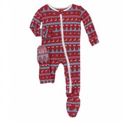 Kickee Pants Holiday Footie with Zipper (Nordic Print)