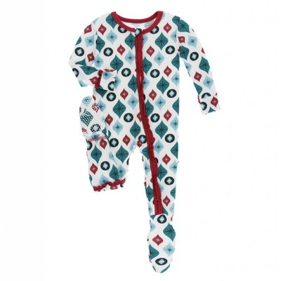 Kickee Pants Holiday Print Muffin Ruffle Footie with Zipper (Natural Vintage Ornaments)