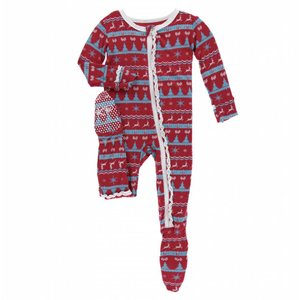 Kickee Pants Holiday Print Muffin Ruffle Footie with Zipper (Nordic Print)