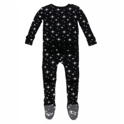 Kickee Pants Holiday Print Muffin Ruffle Footie with Zipper (Silver Bright Stars)