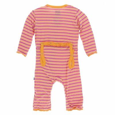 Kickee Pants Print Muffin Ruffle Coverall with Zipper (Flamingo Brazil Stripe)