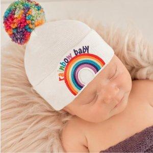iLYBEAN Rainbow Pom Pom and Rainbow Patch Baby Hat - White - Gender Neutral Hospital Hat