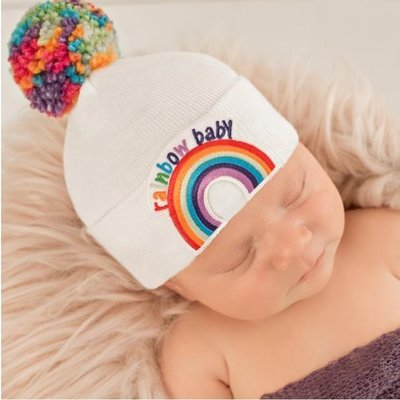 iLYBEAN Rainbow Pom Pom and Rainbow Patch Baby Hat - White - Gender Neutral Hospital Hat