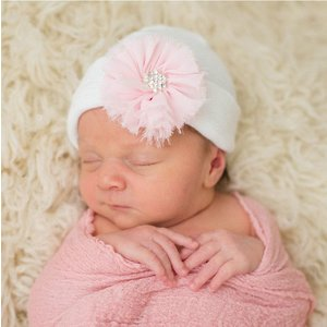 iLYBEAN White Nursery Hat with Pink Frayed Flower Newborn Girl Hospital Hat