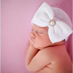iLYBEAN Pearl and Rhinestone White Nursery Big Bow Newborn Girl Hospital Hat