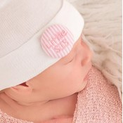 iLYBEAN Newborn Pink & White Seersucker Covered Button Little Sis