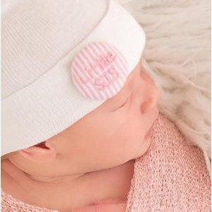 iLYBEAN Newborn Pink & White Seersucker Covered Button Little Sis