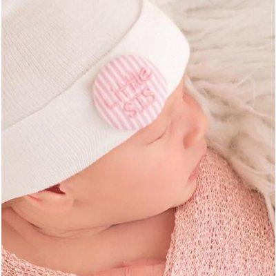 Newborn Pink & White Seersucker Covered Button Little Sis