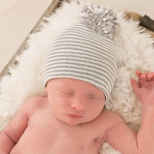 iLYBEAN Grey and White Striped Hospital Hat with Mixed Grey and White Pom Pom Newborn Boy Hospital Hat
