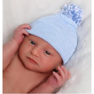 iLYBEAN Newborn Blue & White Striped Hospital Hat with White Pom Pom