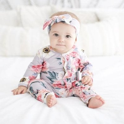 Posh Peanut French Gray Floral Headwrap