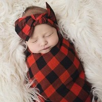 Posh Peanut Girl Buffalo Check Swaddle Headband Set