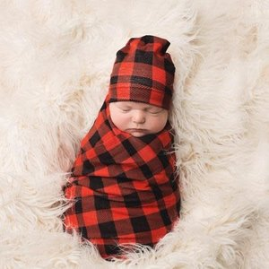 Posh Peanut Boy Buffalo Check Swaddle Beanie Set