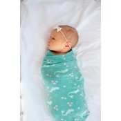 Copper Pearl knit swaddle blanket - coral