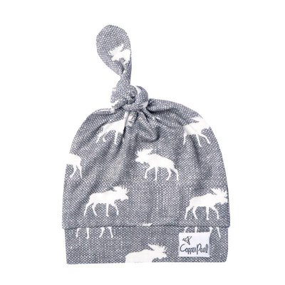Copper Pearl newborn top knot hat - scout