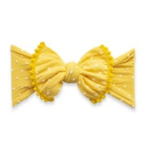 Baby Bling Trimmed Patterned Shabby Knot (Mustard Dot)