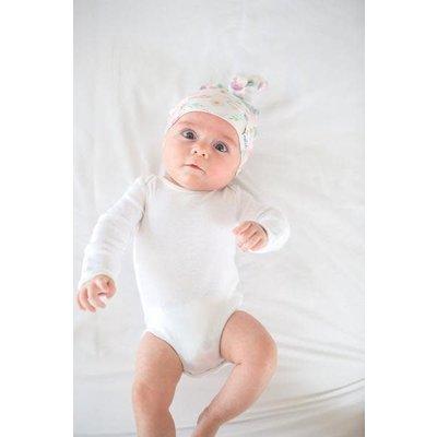 Copper Pearl newborn top knot hat - bloom